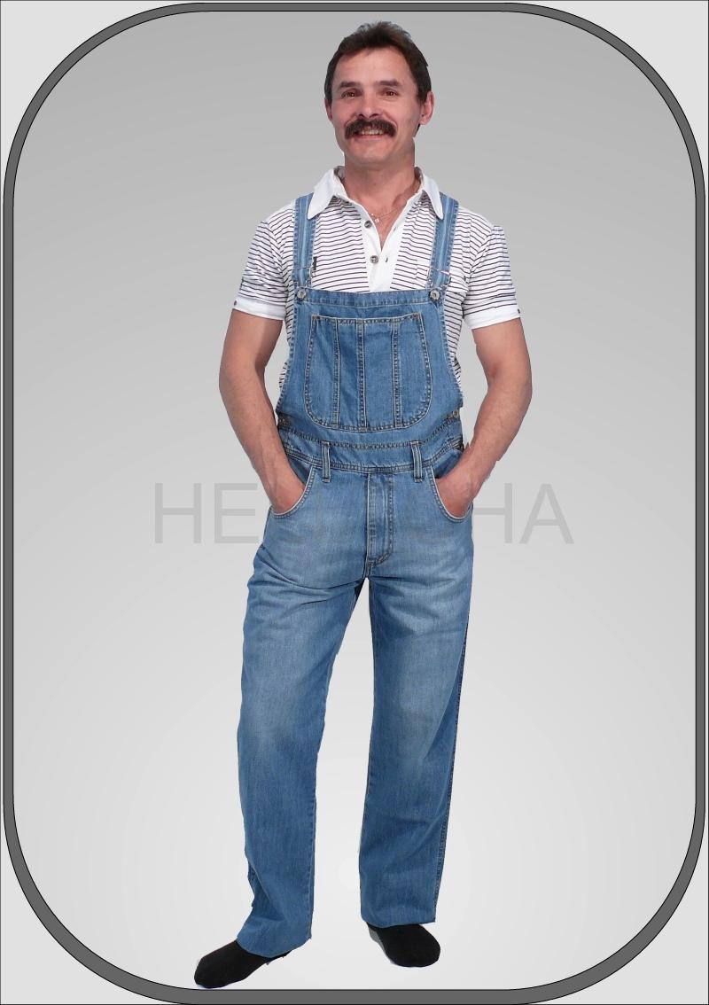 Pánské jeansové světle modré lacláče dl. 34